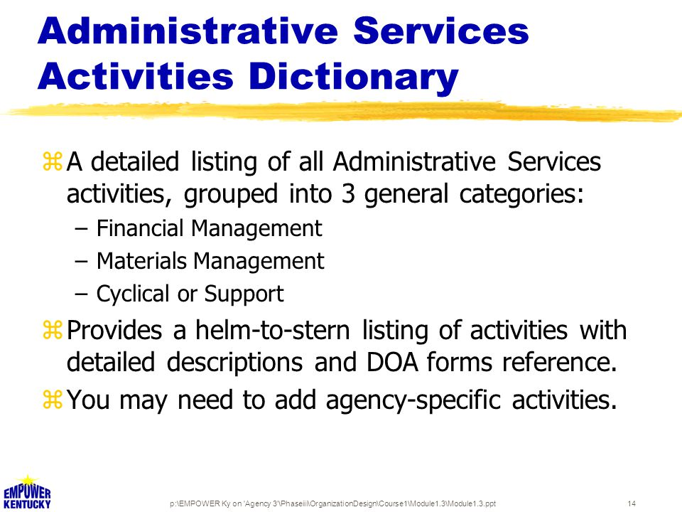 p:\EMPOWER Ky on Agency 3 \Phaseiii\OrganizationDesign\Course1\Module1.3\Module1.3.ppt14 Administrative Services Activities Dictionary zA detailed listing of all Administrative Services activities, grouped into 3 general categories: –Financial Management –Materials Management –Cyclical or Support zProvides a helm-to-stern listing of activities with detailed descriptions and DOA forms reference.