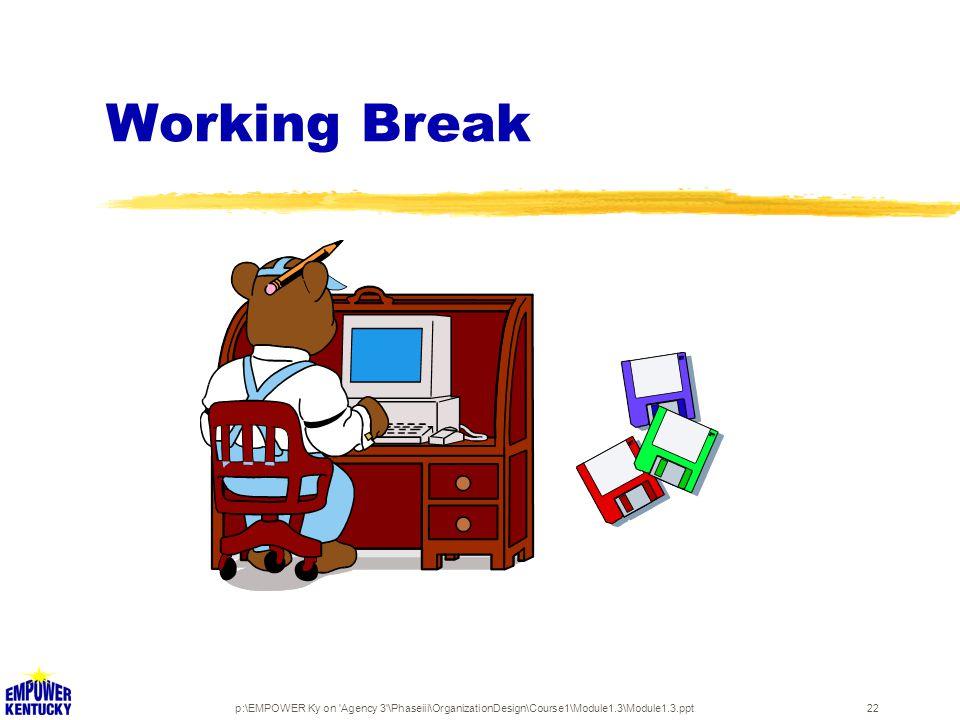 p:\EMPOWER Ky on Agency 3 \Phaseiii\OrganizationDesign\Course1\Module1.3\Module1.3.ppt22 Working Break