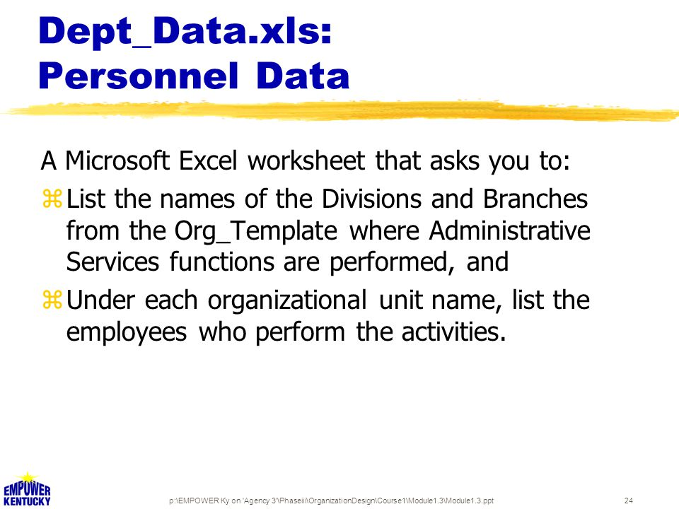 p:\EMPOWER Ky on Agency 3 \Phaseiii\OrganizationDesign\Course1\Module1.3\Module1.3.ppt24 Dept_Data.xls: Personnel Data A Microsoft Excel worksheet that asks you to: zList the names of the Divisions and Branches from the Org_Template where Administrative Services functions are performed, and zUnder each organizational unit name, list the employees who perform the activities.