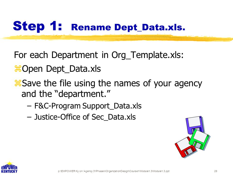 p:\EMPOWER Ky on 'Agency 3'\Phaseiii\OrganizationDesign\Course1\Module1.3\Module1.3.ppt28 Step 1: Rename Dept_Data.xls. For each Department in Org_Tem