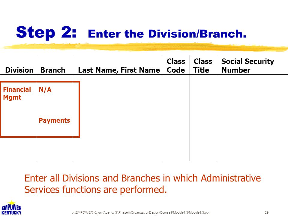 p:\EMPOWER Ky on Agency 3 \Phaseiii\OrganizationDesign\Course1\Module1.3\Module1.3.ppt29 Step 2: Enter the Division/Branch.