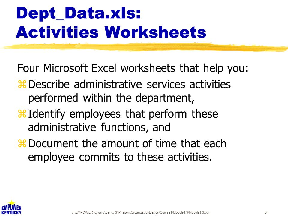 p:\EMPOWER Ky on 'Agency 3'\Phaseiii\OrganizationDesign\Course1\Module1.3\Module1.3.ppt34 Dept_Data.xls: Activities Worksheets Four Microsoft Excel wo