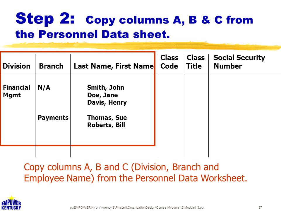 p:\EMPOWER Ky on Agency 3 \Phaseiii\OrganizationDesign\Course1\Module1.3\Module1.3.ppt37 Step 2: Copy columns A, B & C from the Personnel Data sheet.