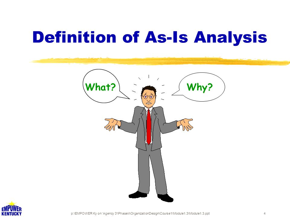 p:\EMPOWER Ky on Agency 3 \Phaseiii\OrganizationDesign\Course1\Module1.3\Module1.3.ppt4 Definition of As-Is Analysis What Why