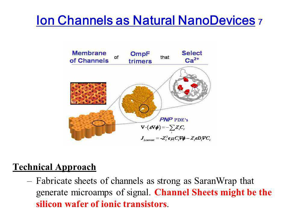 Ion Channels as Natural NanoDevices 7 Technical Approach –Fabricate sheets of channels as strong as SaranWrap that generate microamps of signal.