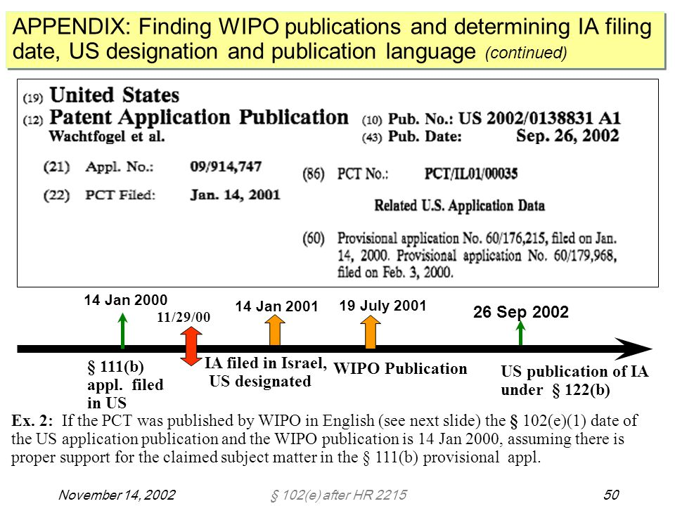 § 102(e) after HR 221550November 14, 2002 APPENDIX: Finding WIPO publications and determining IA filing date, US designation and publication language (continued) 26 Sep 2002 IA filed in Israel, US designated § 111(b) appl.