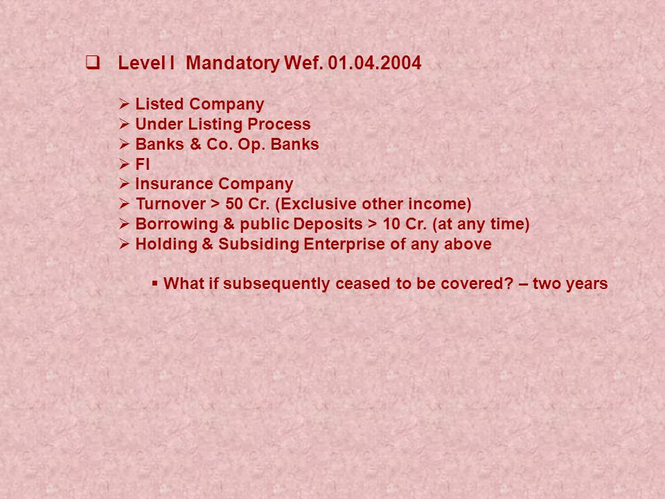  Level I Mandatory Wef. 01.04.2004  Listed Company  Under Listing Process  Banks & Co. Op. Banks  FI  Insurance Company  Turnover > 50 Cr. (Exc