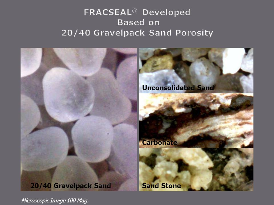 Carbonate Unconsolidated Sand Microscopic Image 100 Mag. Sand Stone20/40 Gravelpack Sand