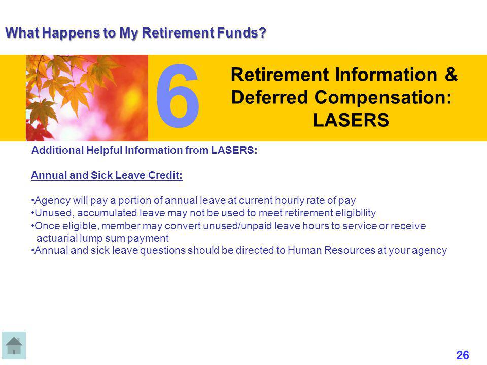 What Happens to My Retirement Funds? Additional Helpful Information from LASERS: Annual and Sick Leave Credit: Agency will pay a portion of annual lea