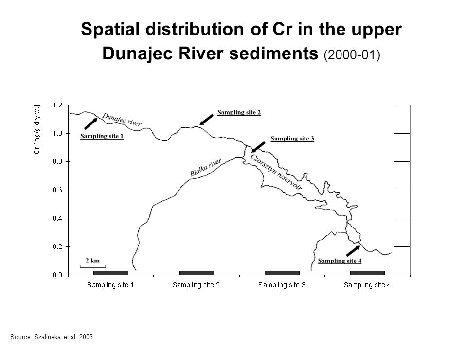 Spatial distribution of Cr in the upper Dunajec River sediments (2000-01) Source: Szalinska et al.