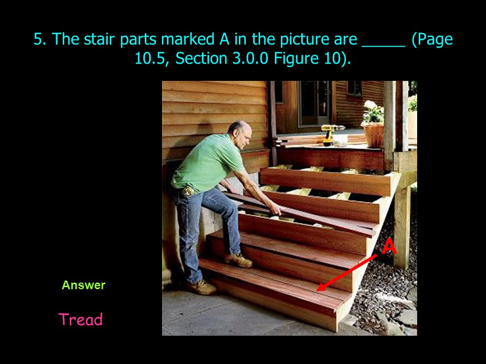 5. The stair parts marked A in the picture are _____ (Page 10.5, Section 3.0.0 Figure 10). Answer Tread A