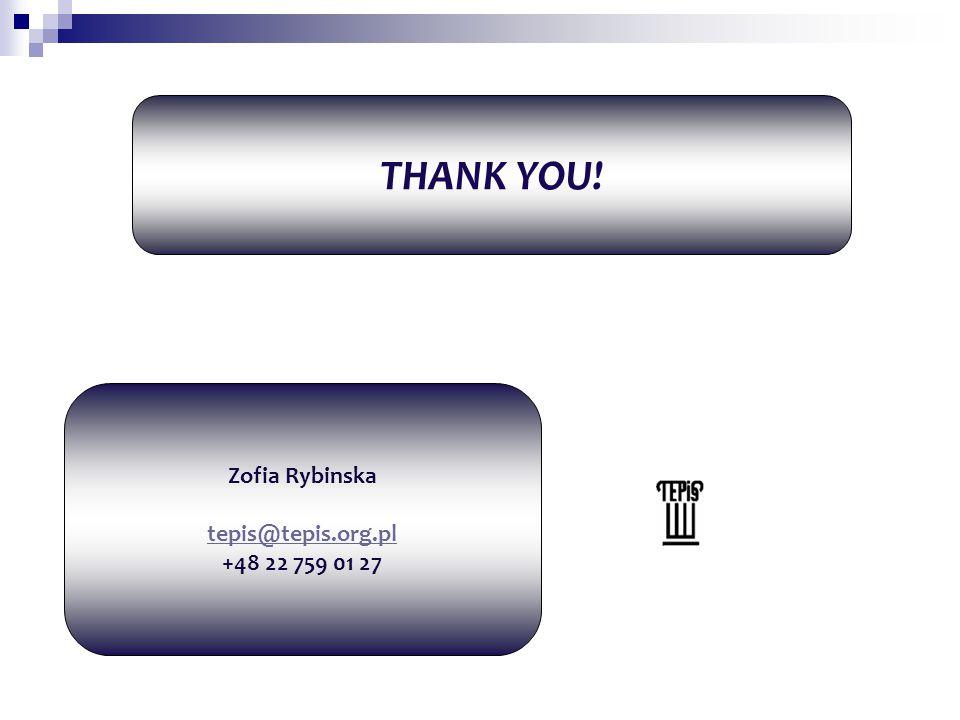 THANK YOU! Zofia Rybinska tepis@tepis.org.pl +48 22 759 01 27