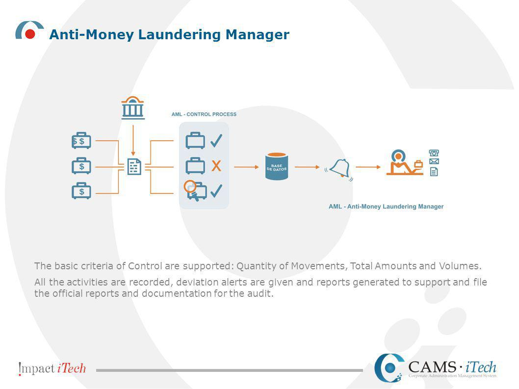 Anti-Money Laundering Manager The basic criteria of Control are supported: Quantity of Movements, Total Amounts and Volumes. All the activities are re