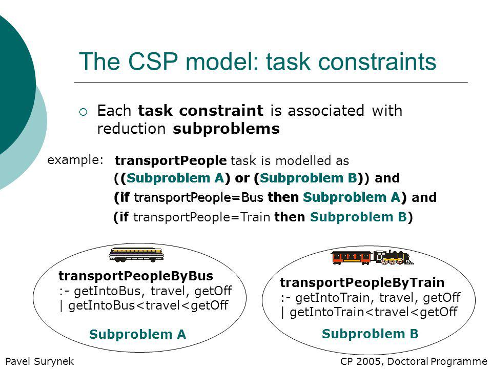 ((Subproblem A) or (Subproblem B)) and transportPeople task is modelled as (if transportPeople=Bus then Subproblem A) and The CSP model: task constraints  Each task constraint is associated with reduction subproblems (Subproblem A) or (Subproblem B) example: transportPeopleByBus :- getIntoBus, travel, getOff | getIntoBus<travel<getOff transportPeopleByTrain :- getIntoTrain, travel, getOff | getIntoTrain<travel<getOff Subproblem A Subproblem B CP 2005, Doctoral Programme (if transportPeople=Train then Subproblem B) (if transportPeople=Bus then Subproblem A) transportPeople Pavel Surynek