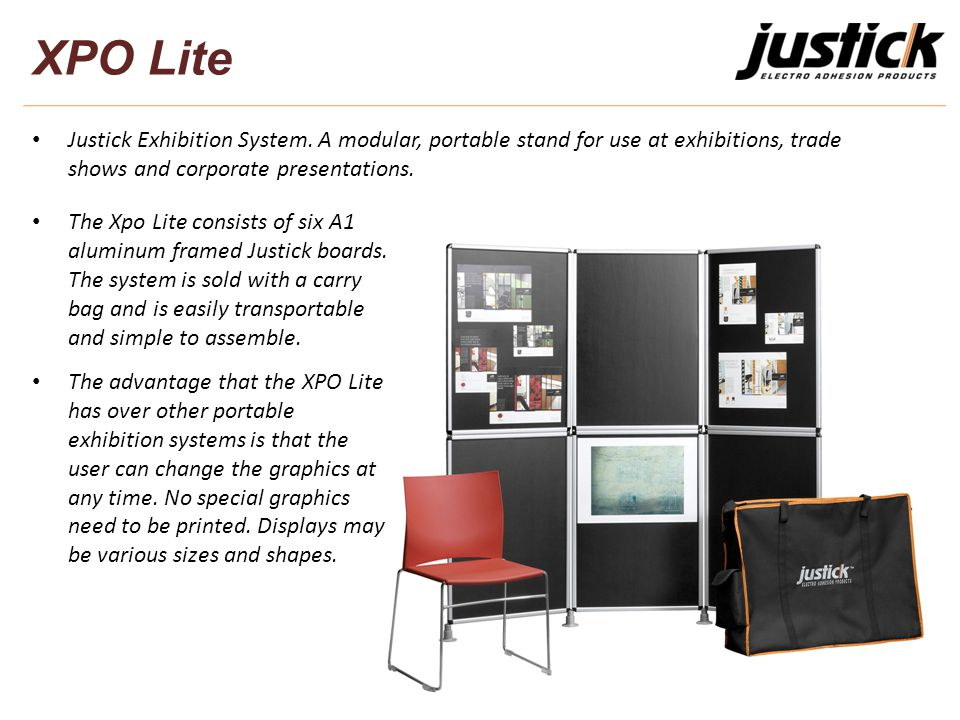 XPO Lite Justick Exhibition System. A modular, portable stand for use at exhibitions, trade shows and corporate presentations. The Xpo Lite consists o
