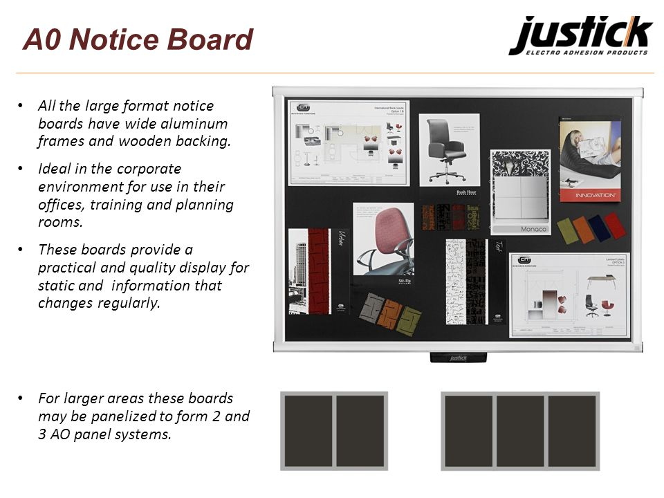 All the large format notice boards have wide aluminum frames and wooden backing.
