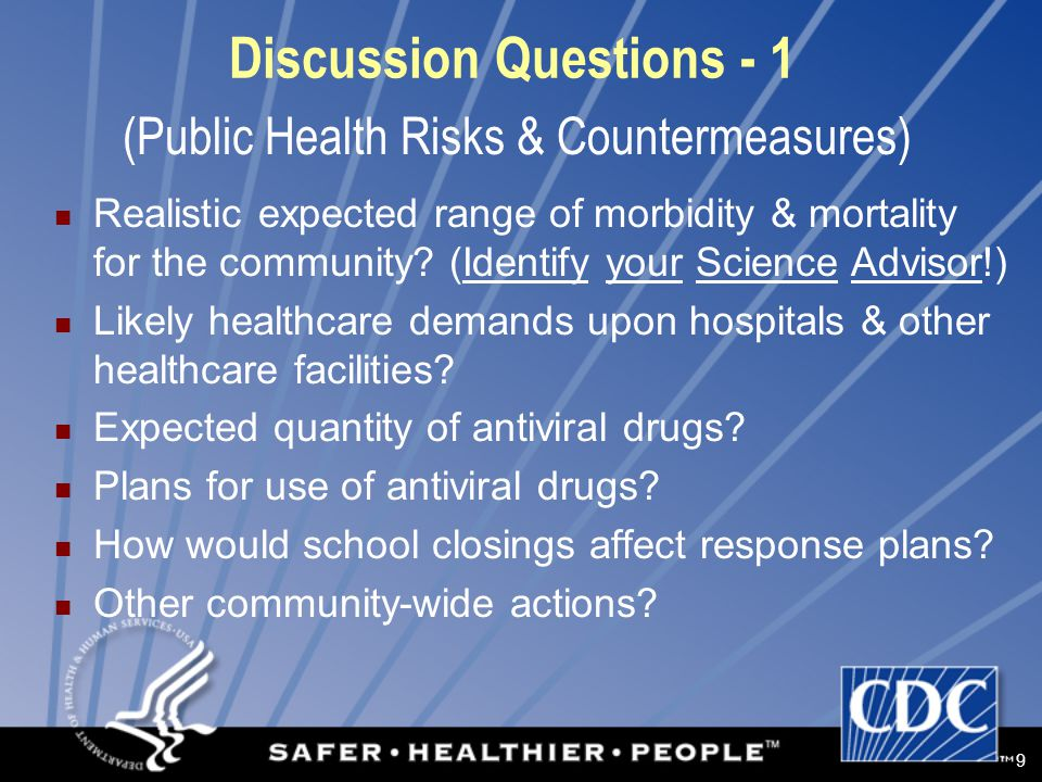 9 Discussion Questions - 1 Realistic expected range of morbidity & mortality for the community.