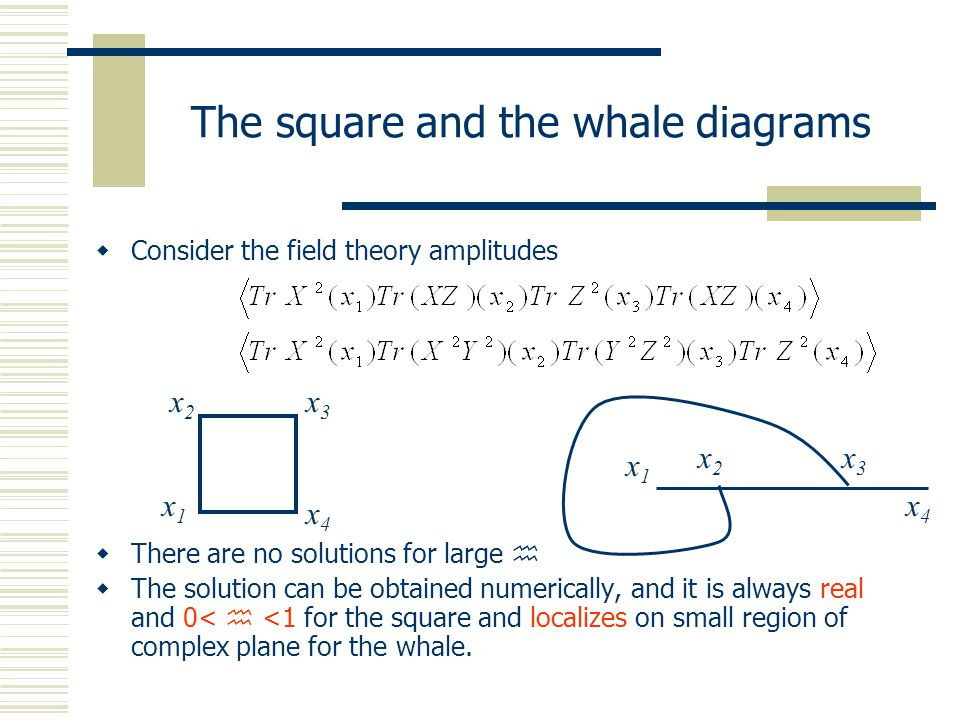 The square and the whale diagrams  Consider the field theory amplitudes  There are no solutions for large   The solution can be obtained numerical
