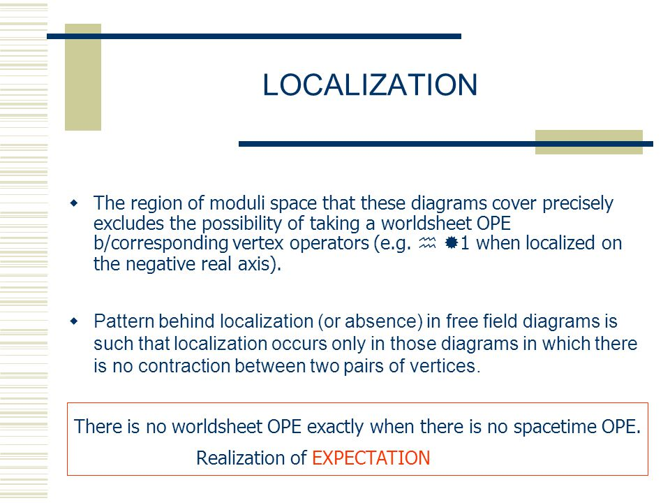 LOCALIZATION  The region of moduli space that these diagrams cover precisely excludes the possibility of taking a worldsheet OPE b/corresponding vertex operators (e.g.