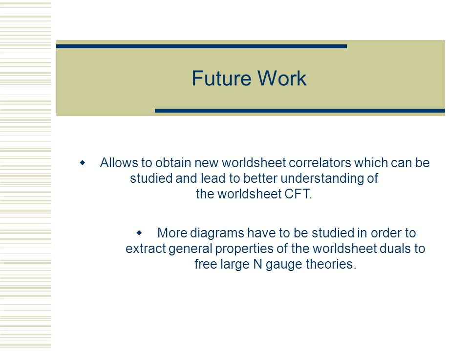 Future Work  More diagrams have to be studied in order to extract general properties of the worldsheet duals to free large N gauge theories.  Allows