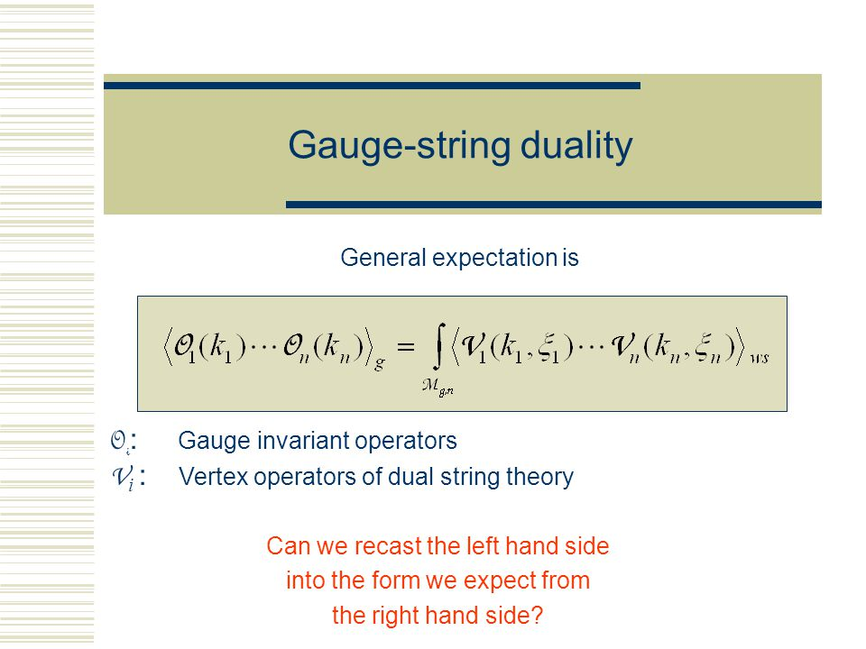 Gauge-string duality General expectation is O i : Gauge invariant operators V i : Vertex operators of dual string theory Can we recast the left hand s