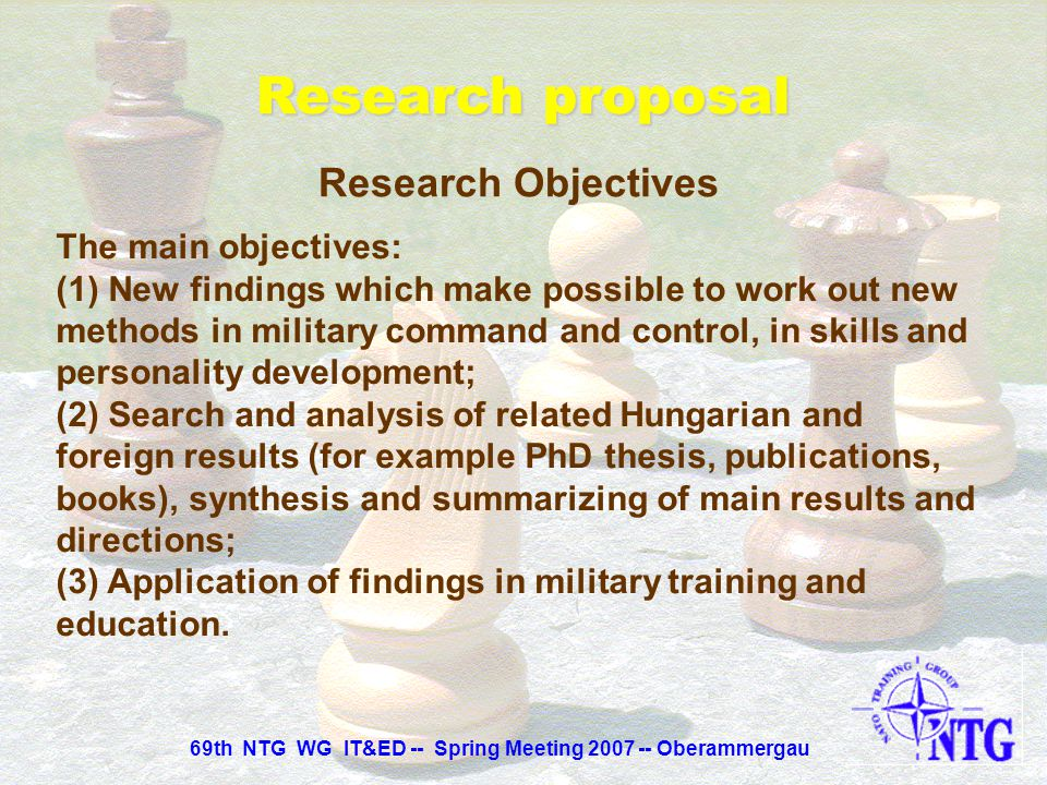 Research proposal Research Objectives Analogies between chess and military strategy, chess and war-gaming, chess and military tactics. Analysis of che
