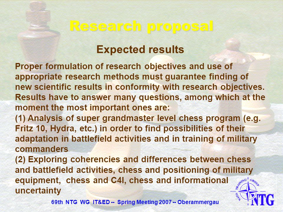 Research proposal Research Objectives The main objectives: (1) New findings which make possible to work out new methods in military command and contro