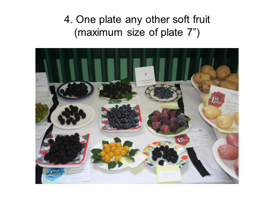 4. One plate any other soft fruit (maximum size of plate 7 )