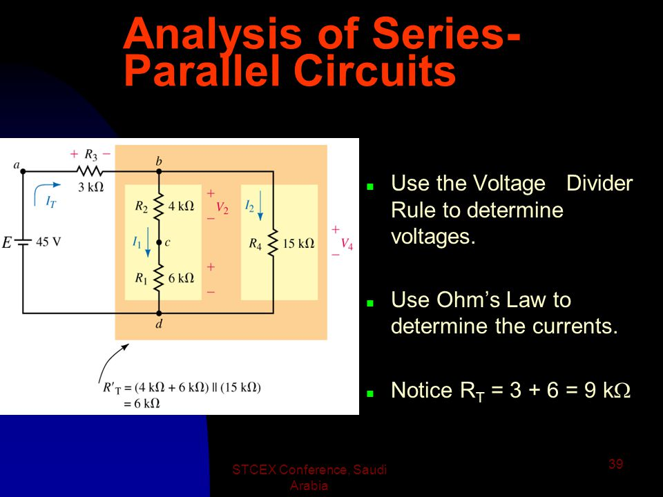 STCEX Conference, Saudi Arabia 38 Analysis of Series- Parallel Circuits n To find the currents in the circuit, first redraw the circuit.