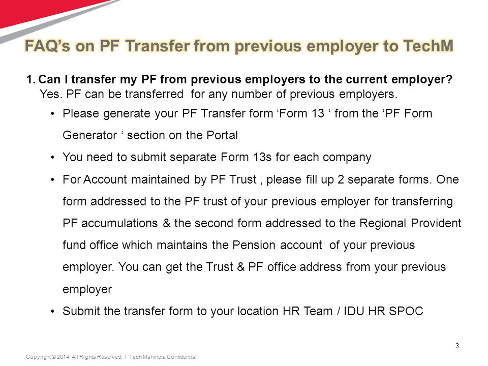 3 3 1.Can I transfer my PF from previous employers to the current employer.