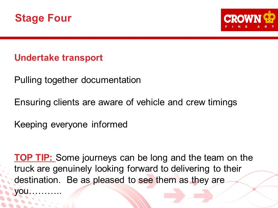 Undertake transport Pulling together documentation Ensuring clients are aware of vehicle and crew timings Keeping everyone informed TOP TIP: Some jour