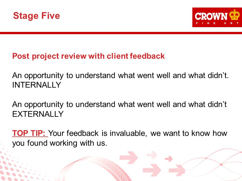 Post project review with client feedback An opportunity to understand what went well and what didn't.