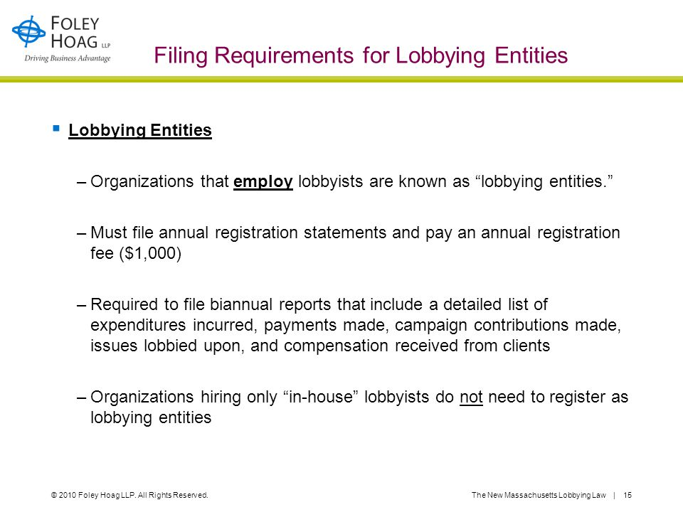© 2010 Foley Hoag LLP. All Rights Reserved.The New Massachusetts Lobbying Law | 15 Filing Requirements for Lobbying Entities  Lobbying Entities –Orga