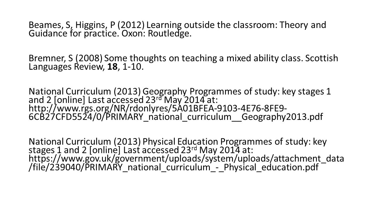 Beames, S, Higgins, P (2012) Learning outside the classroom: Theory and Guidance for practice.