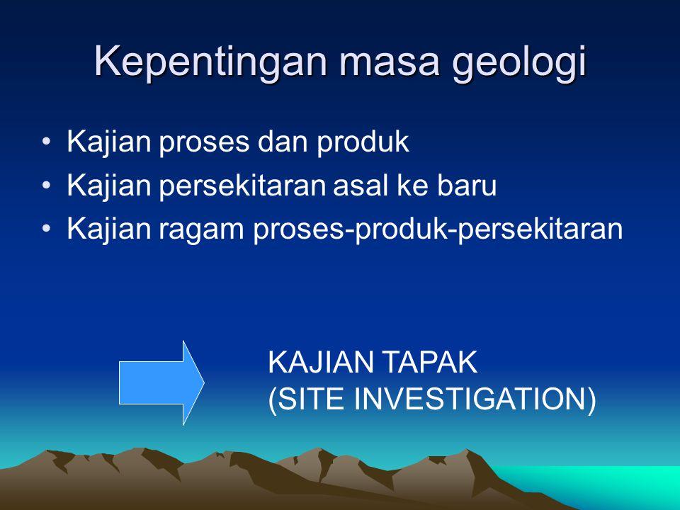 Kepentingan masa geologi Kajian proses dan produk Kajian persekitaran asal ke baru Kajian ragam proses-produk-persekitaran KAJIAN TAPAK (SITE INVESTIGATION)