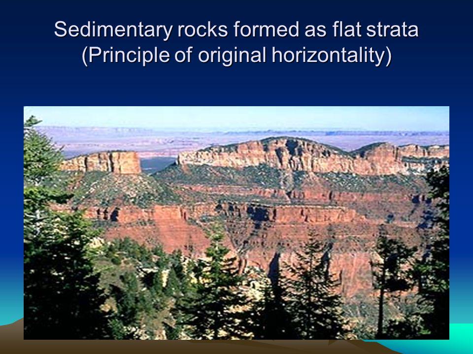 Sedimentary rocks formed as flat strata (Principle of original horizontality)