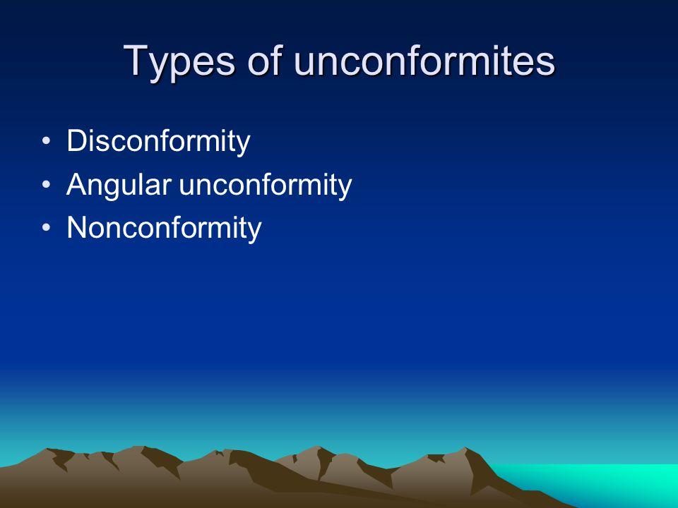 Types of unconformites Disconformity Angular unconformity Nonconformity