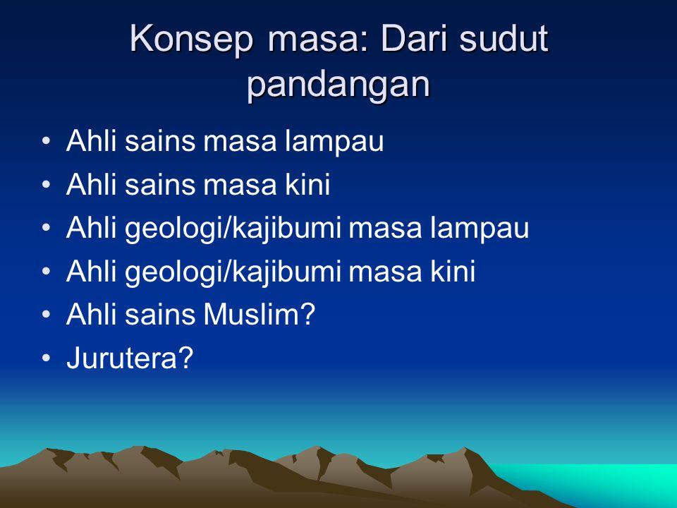 Konsep masa: Dari sudut pandangan Ahli sains masa lampau Ahli sains masa kini Ahli geologi/kajibumi masa lampau Ahli geologi/kajibumi masa kini Ahli sains Muslim.