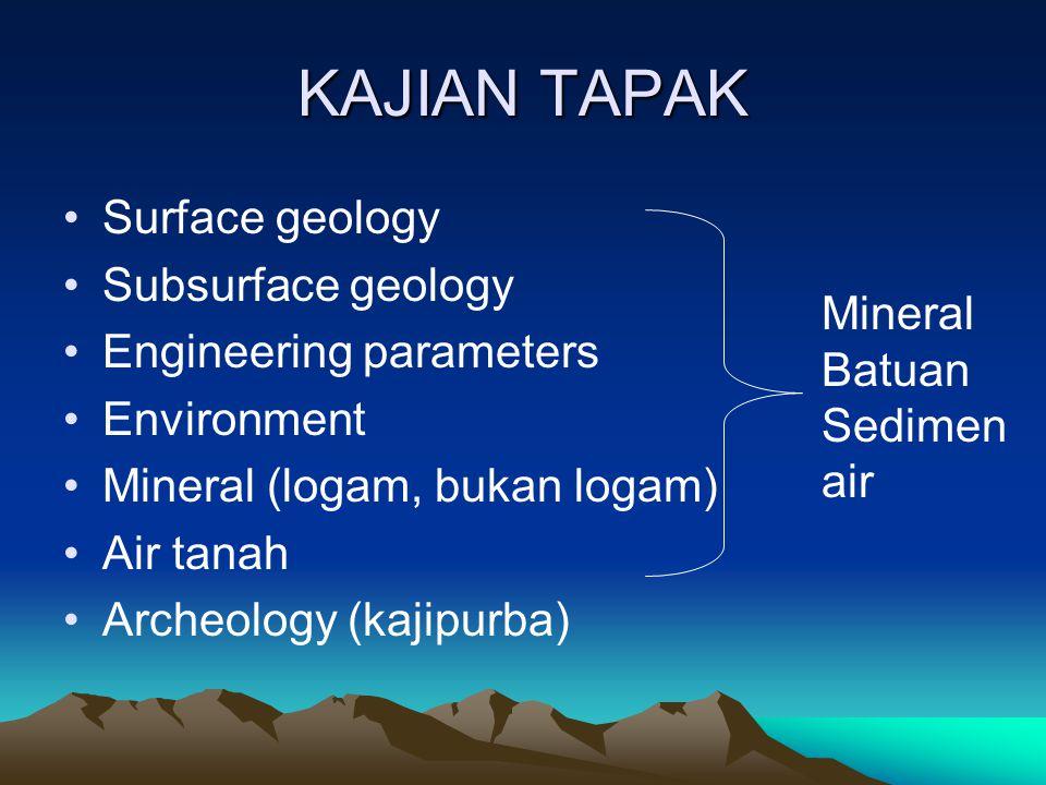 KAJIAN TAPAK Surface geology Subsurface geology Engineering parameters Environment Mineral (logam, bukan logam) Air tanah Archeology (kajipurba) Mineral Batuan Sedimen air