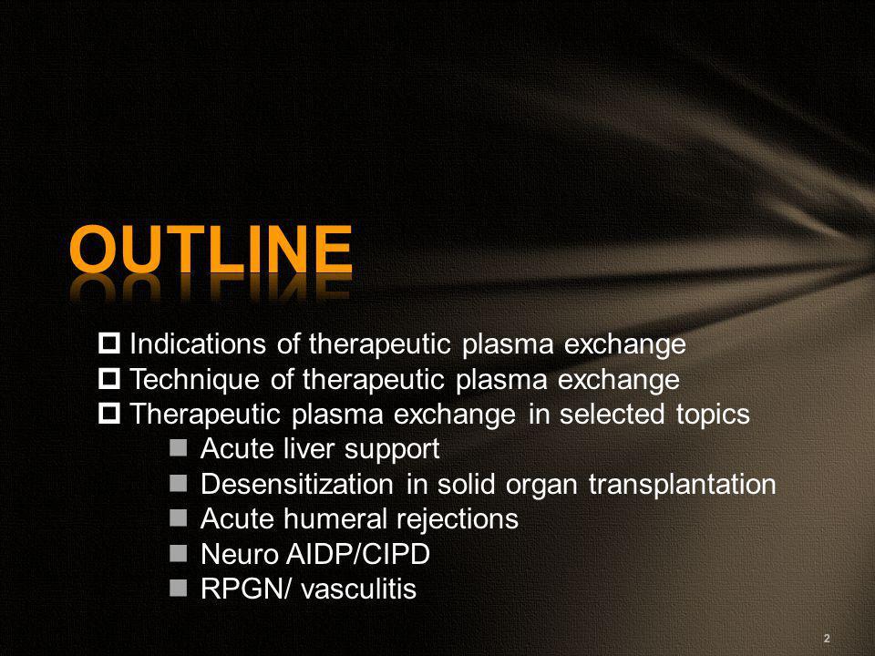  Indications of therapeutic plasma exchange  Technique of therapeutic plasma exchange  Therapeutic plasma exchange in selected topics Acute liver s