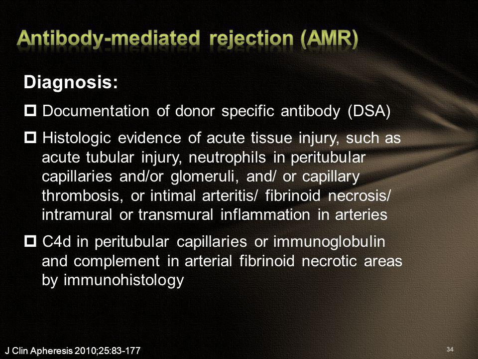 Diagnosis:  Documentation of donor specific antibody (DSA)  Histologic evidence of acute tissue injury, such as acute tubular injury, neutrophils in