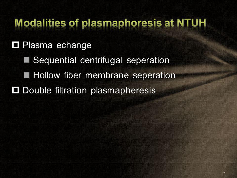  Plasma echange Sequential centrifugal seperation Hollow fiber membrane seperation  Double filtration plasmapheresis 7