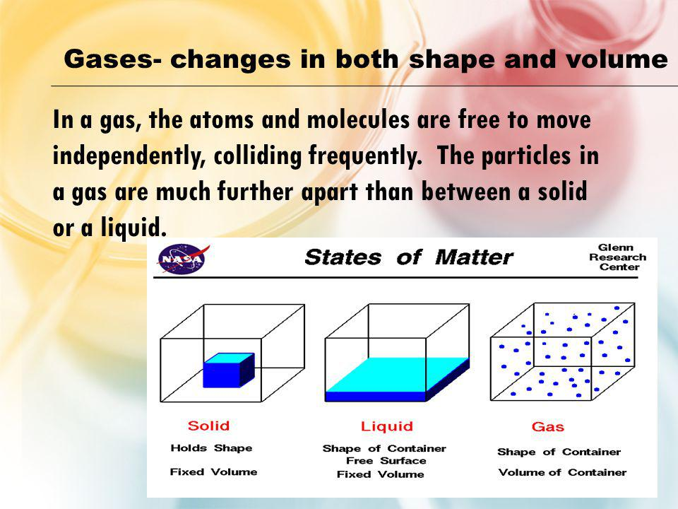 Gases- changes in both shape and volume In a gas, the atoms and molecules are free to move independently, colliding frequently. The particles in a gas
