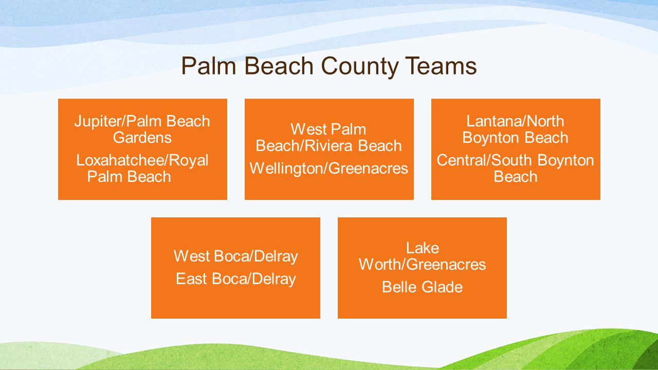 Palm Beach County Teams Jupiter/Palm Beach Gardens Loxahatchee/Royal Palm Beach West Palm Beach/Riviera Beach Wellington/Greenacres Lantana/North Boyn