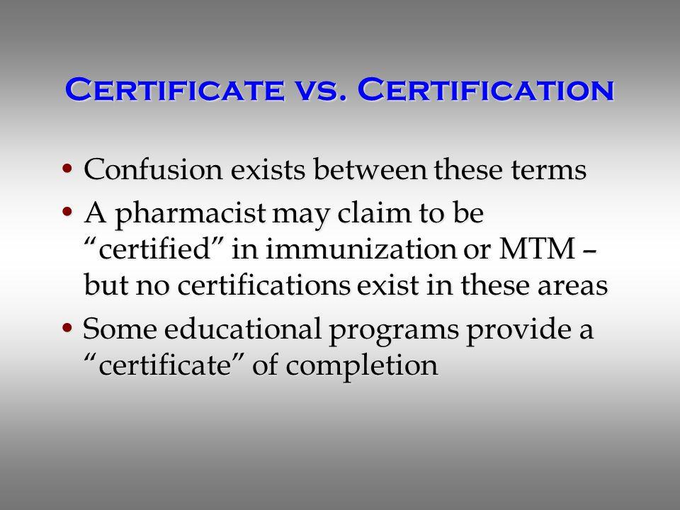 Certificate vs.
