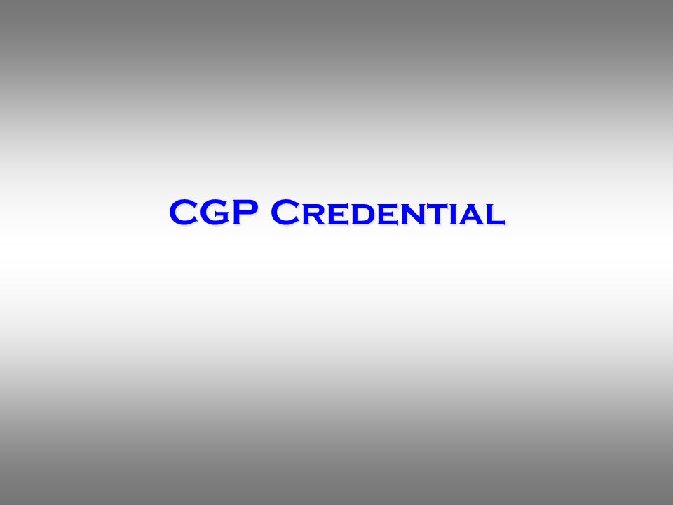 Suitability of CGP Credential for California APP