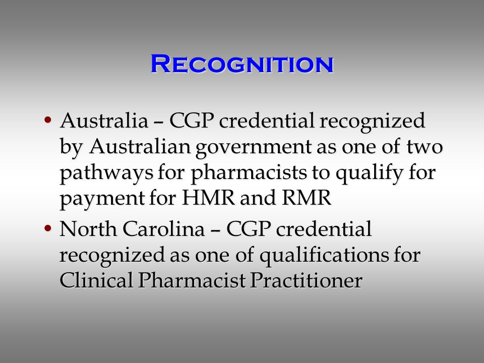 Comparison Senate Bill 493 A pharmacist recognized by the board as an advanced practice pharmacist may do all of the following: CGP Content Outline Corresponding elements on the Certified Geriatric Pharmacist content outline