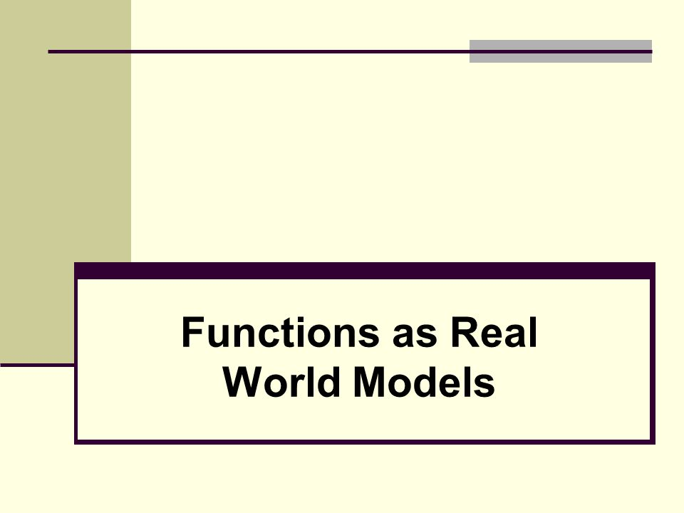 Functions as Real World Models Solution a.