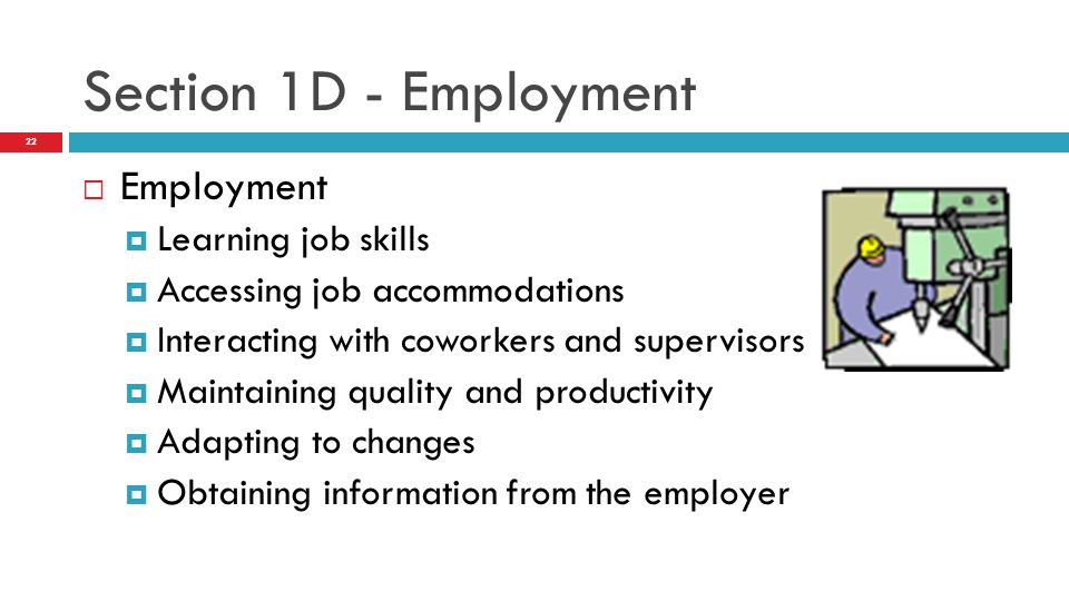 Employment  Learning job skills  Accessing job accommodations  Interacting with coworkers and supervisors  Maintaining quality and productivity  Adapting to changes  Obtaining information from the employer Section 1D - Employment 22