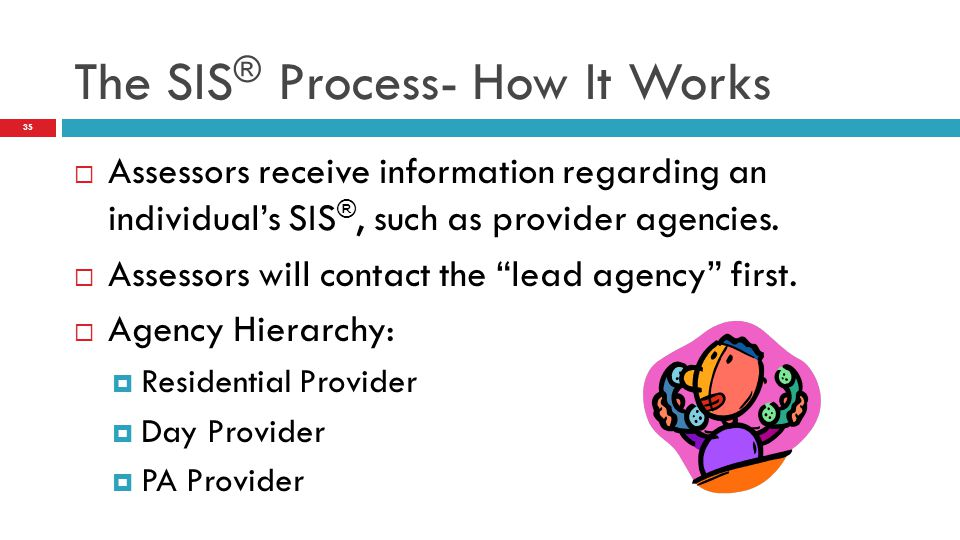  Assessors receive information regarding an individual's SIS ®, such as provider agencies.